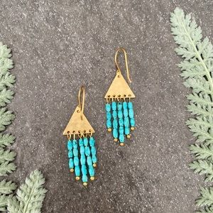 Turquoise and Brass Triangle Earrings